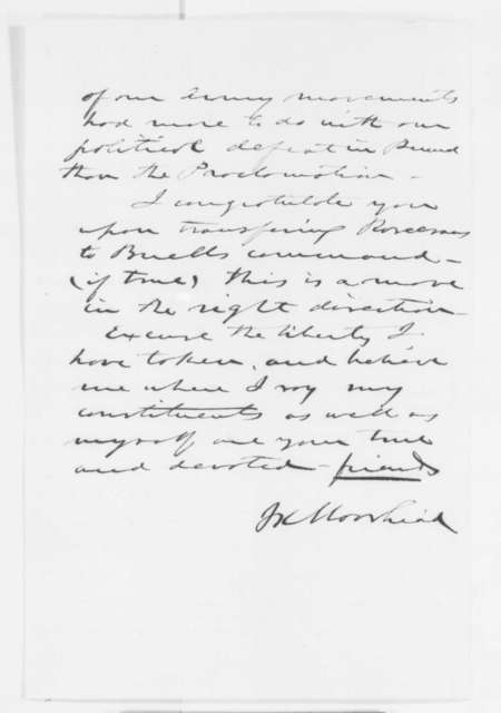 James K. Moorhead to Abraham Lincoln, Friday, October 24, 1862  (Military affairs)