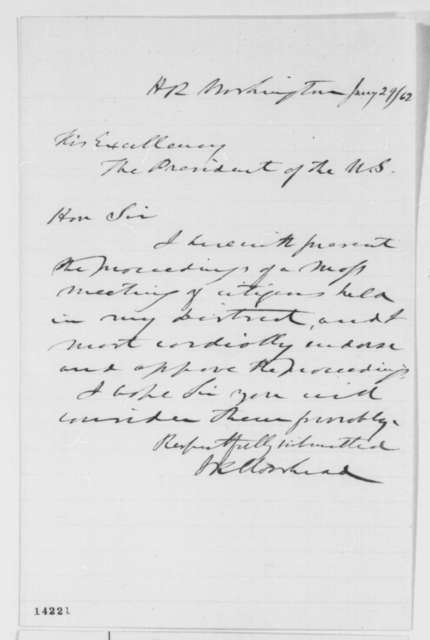 James K. Moorhead to Abraham Lincoln, Wednesday, January 29, 1862  (Cover letter)