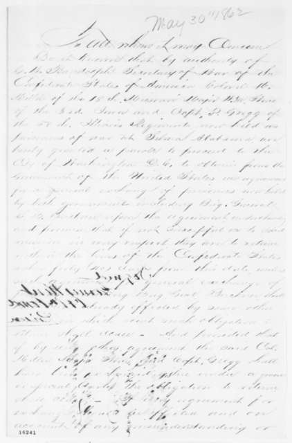 """James Kent to """"Madison Miller, P. Stone, and P. Gregg"""", Friday, May 30, 1862  (Pass)"""