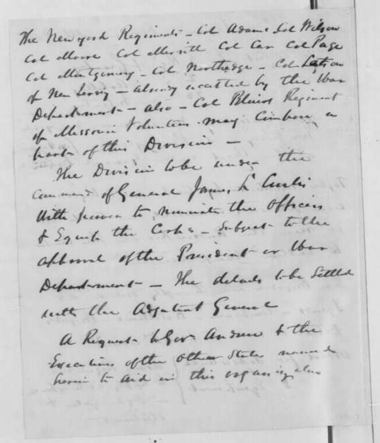 James L. Curtis, Saturday, March 15, 1862  (Memorandum proposing a new army division)