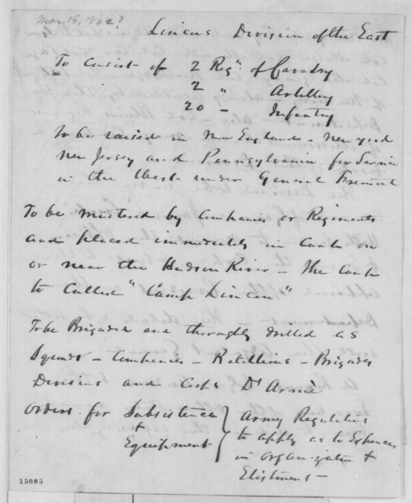 James L. Curtis, Saturday, March 15, 1862  (Memorandum proposing a new army division)