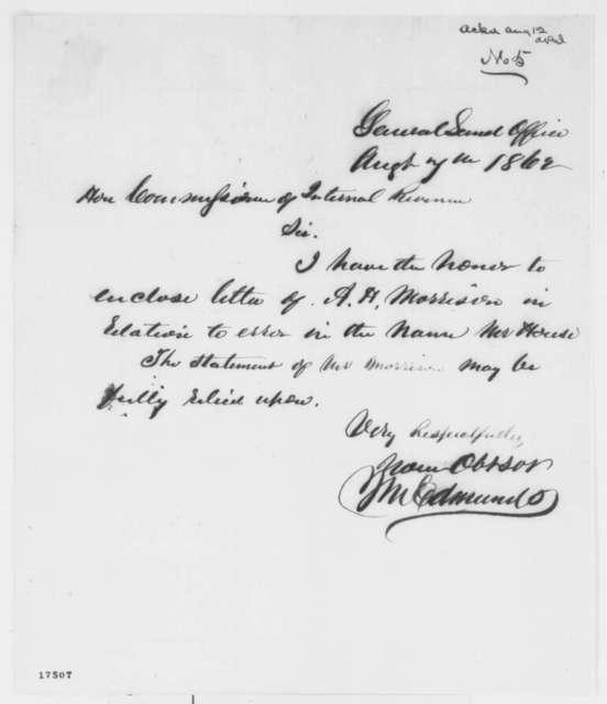 James M. Edmunds to Joseph L. Lewis, Thursday, August 07, 1862  (Cover letter)