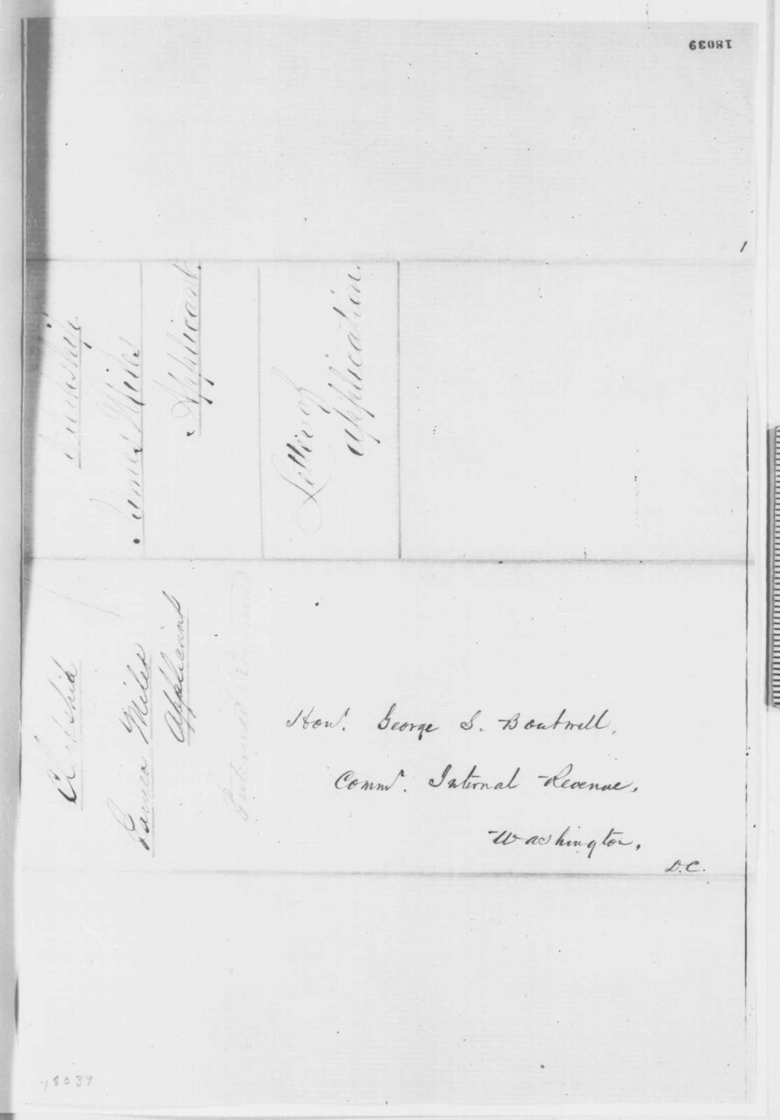 James Miles to George S. Boutwell, Wednesday, August 27, 1862  (Seeks office)