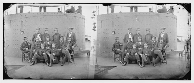 James River, Virginia. Officers on deck of U.S.S. MONITOR