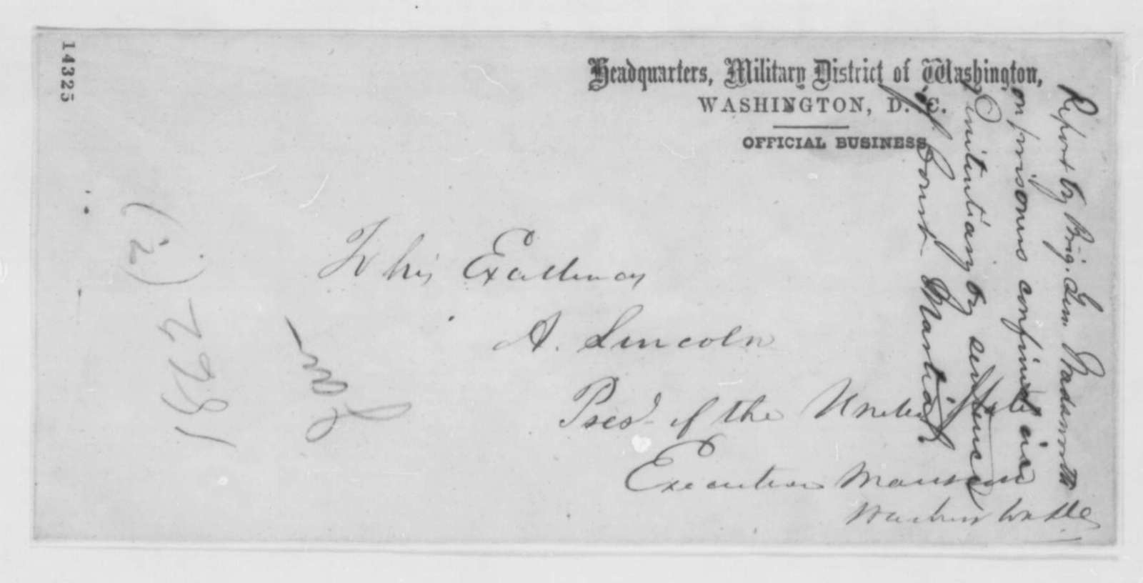 James S. Wadsworth to Abraham Lincoln, April 1862  (Report on military prisoners in Washington D.C. prison)
