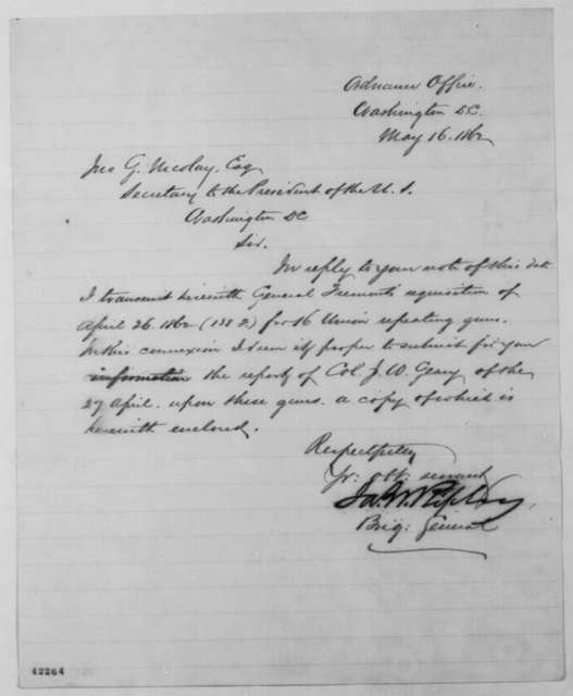 James W. Ripley to John G. Nicolay, Friday, May 16, 1862  (Cover letter)