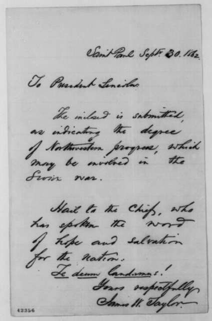 James W. Taylor to Abraham Lincoln, Tuesday, September 30, 1862  (Cover letter)