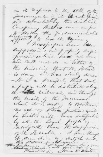 James W. White to Abraham Lincoln, Monday, July 07, 1862  (New York Herald)