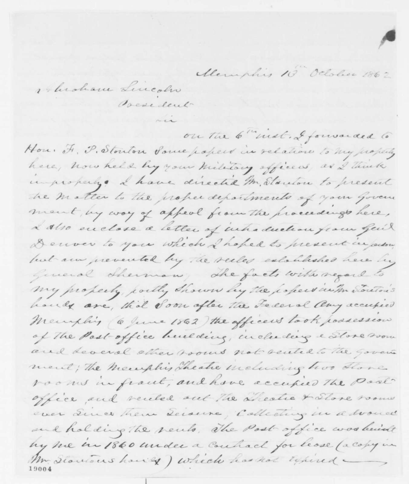 James Wickersham to Abraham Lincoln, Monday, October 13, 1862  (Government seizure of his property)