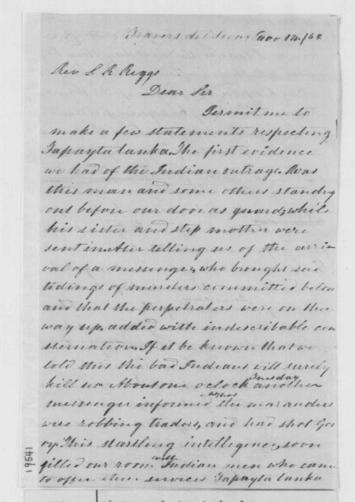 Jane L. Williamson to Stephen R. Riggs, Friday, November 14, 1862  (Sioux uprising in Minnesota)