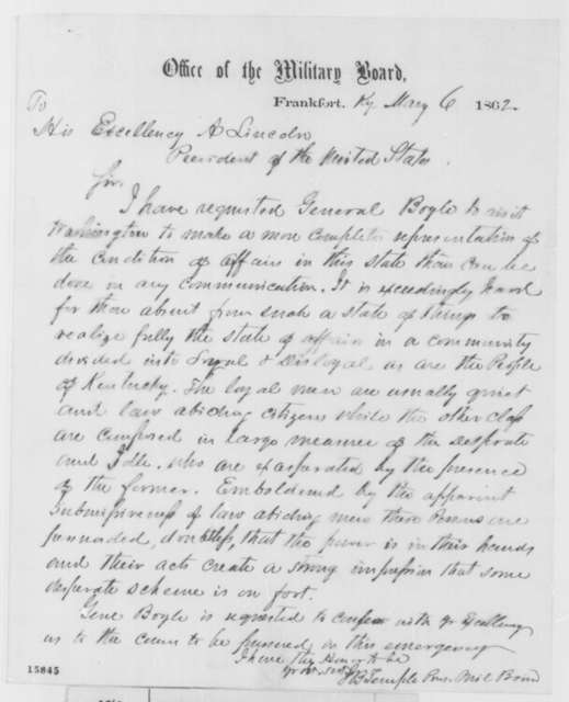 J.B. Temple to Abraham Lincoln, Tuesday, May 06, 1862  (Affairs in Kentucky)