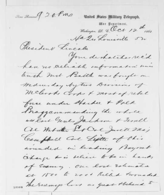Jeremiah T. Boyle to Abraham Lincoln, Sunday, October 12, 1862  (Telegram concerning military affairs)