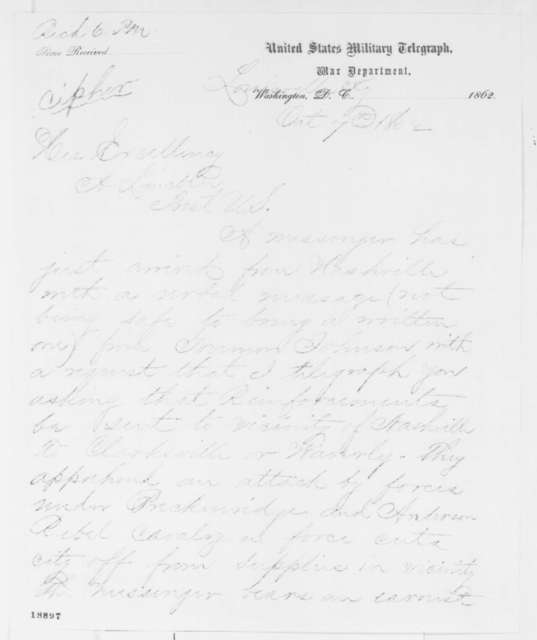 Jeremiah T. Boyle to Abraham Lincoln, Tuesday, October 07, 1862  (Telegram concerning military affairs)