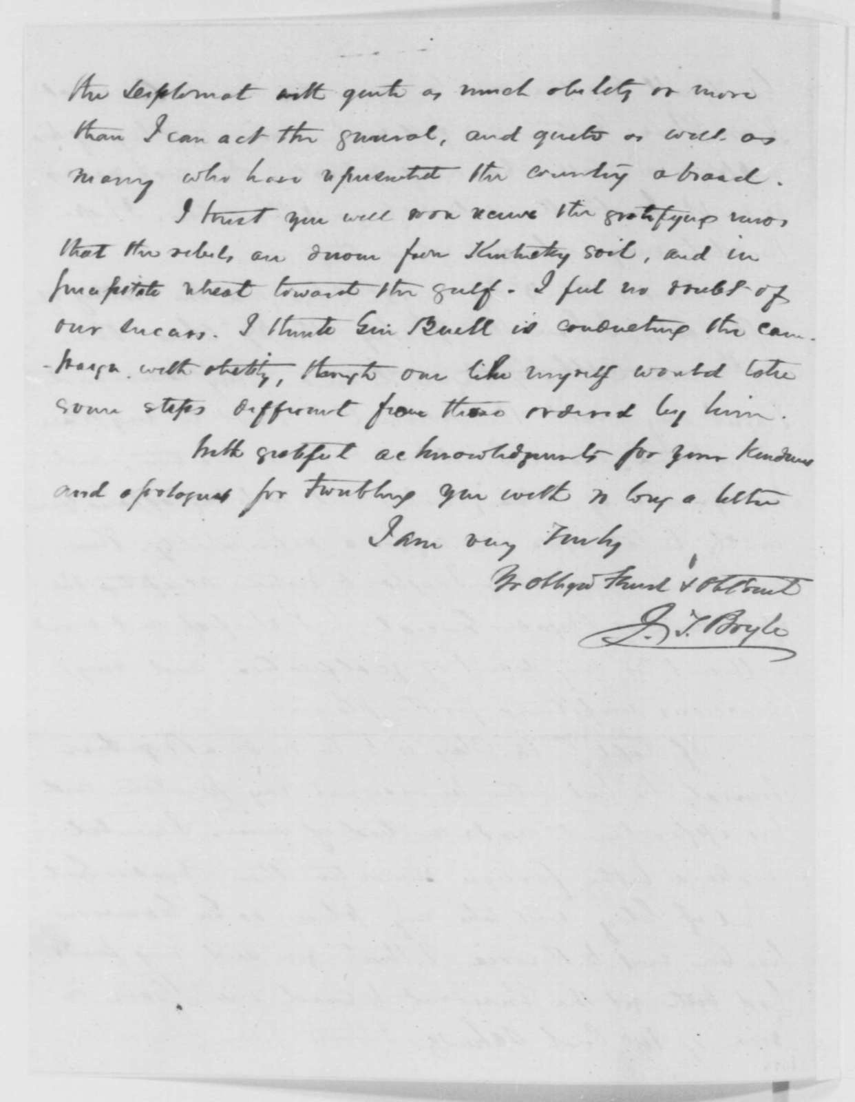 Jeremiah T. Boyle to Garrett Davis, Monday, January 20, 1862  (Political and military affairs in Kentucky)