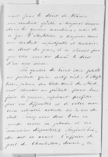Jerome Bonaparte to Edward Everett, Thursday, January 30, 1862  (in French)