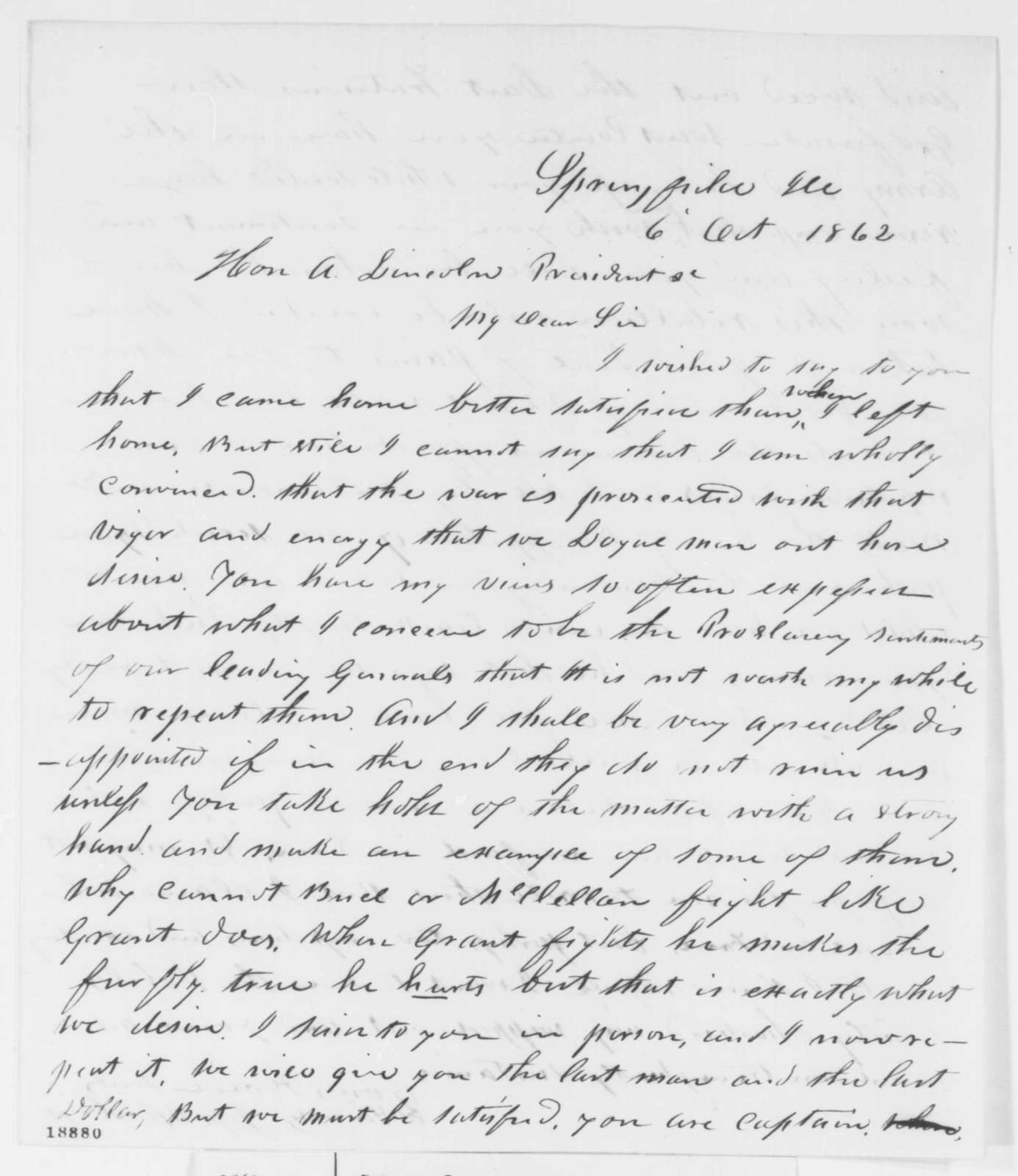 Jesse K. Dubois to Abraham Lincoln, Monday, October 06, 1862  (Military affairs)