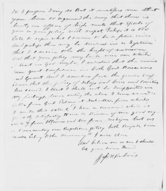 Jesse K. Dubois to Abraham Lincoln, Wednesday, December 03, 1862  (Conduct of the war)