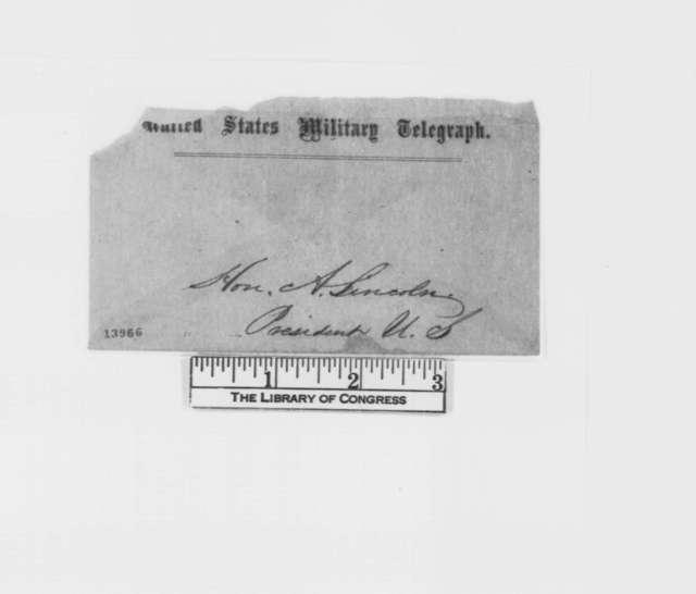 John A. Dahlgren to Abraham Lincoln, Sunday, January 12, 1862  (Telegram regarding military affairs)