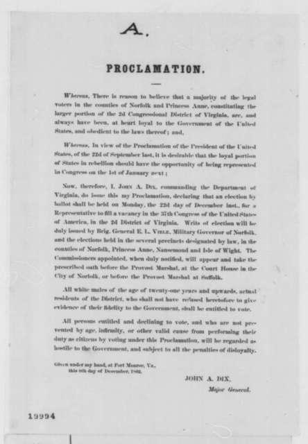 John A. Dix, Monday, December 08, 1862  (Printed Proclamation)