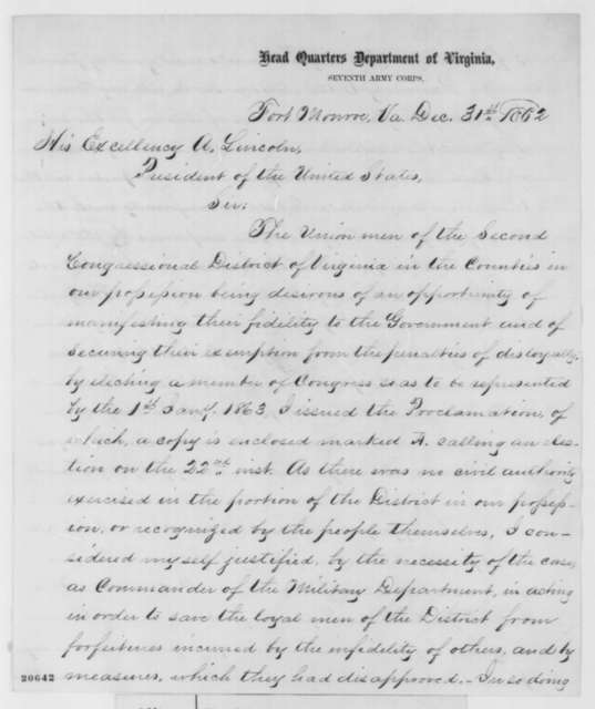John A. Dix to Abraham Lincoln, Wednesday, December 31, 1862  (Congressional election in Virginia)