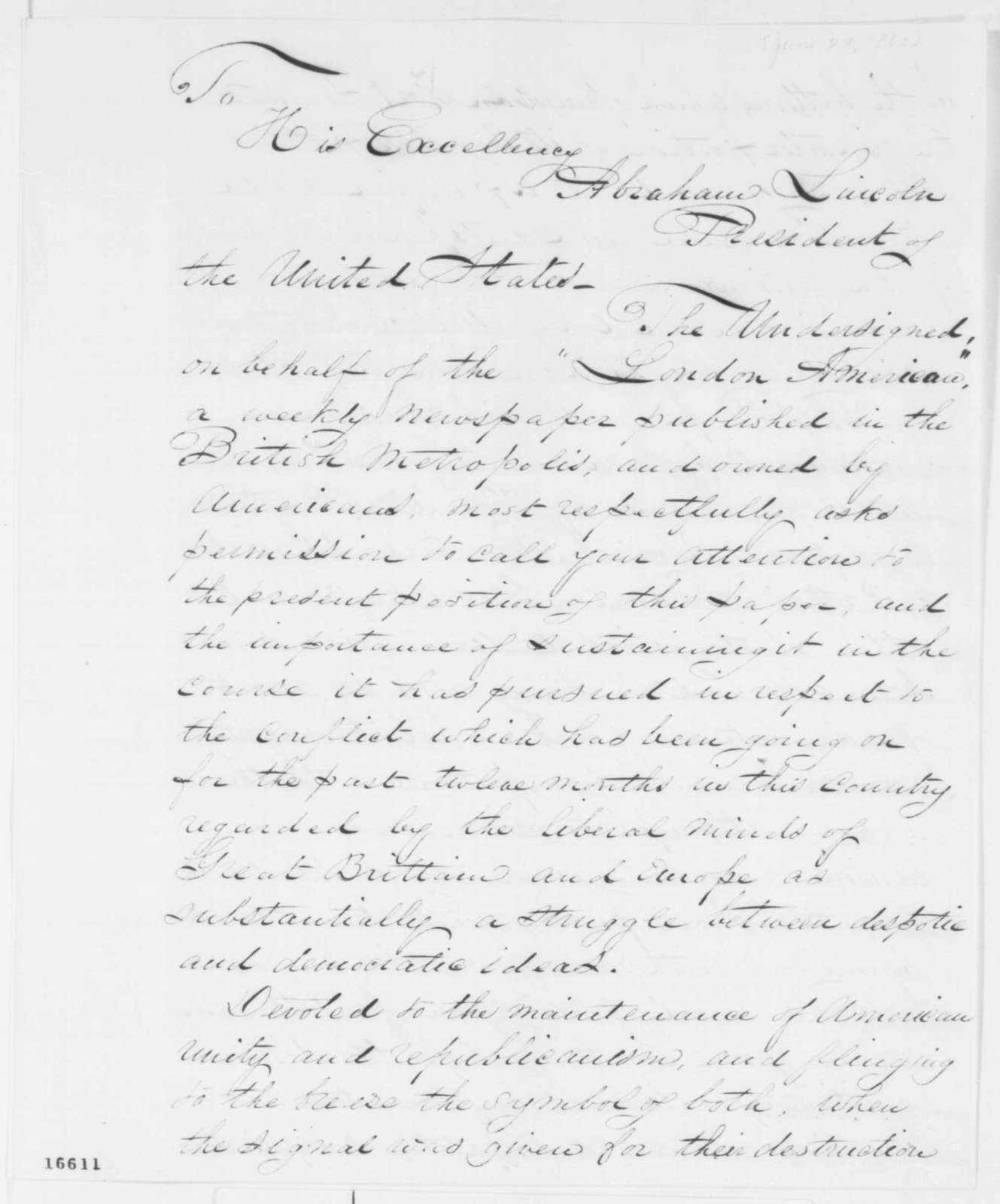 John A. Knight to Abraham Lincoln, Tuesday, June 24, 1862  (Seeks assistance for his newspaper)