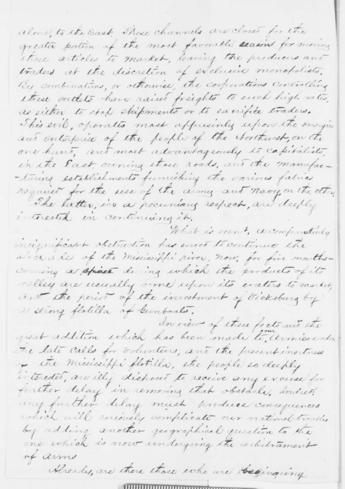 John A. McClernand to Abraham Lincoln, Monday, November 10, 1862  (Military affairs)