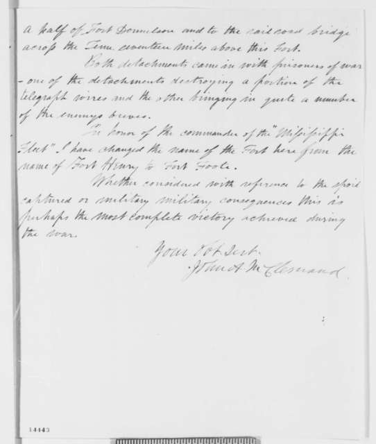John A. McClernand to Abraham Lincoln, Saturday, February 08, 1862  (Capture of Fort Henry)