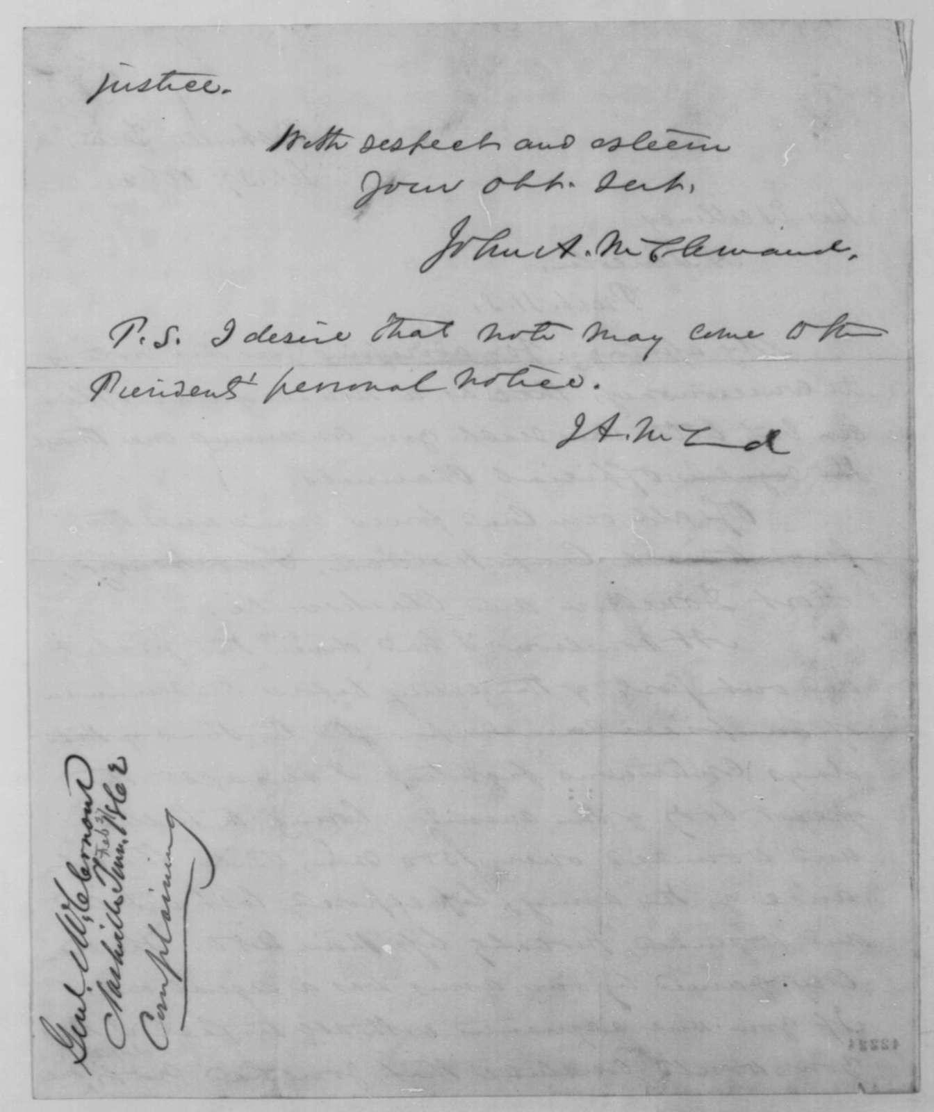 John A. McClernand to Abraham Lincoln, Thursday, February 27, 1862  (Military affairs)