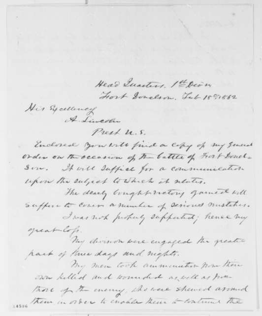 John A. McClernand to Abraham Lincoln, Tuesday, February 18, 1862  (Fort Donelson)