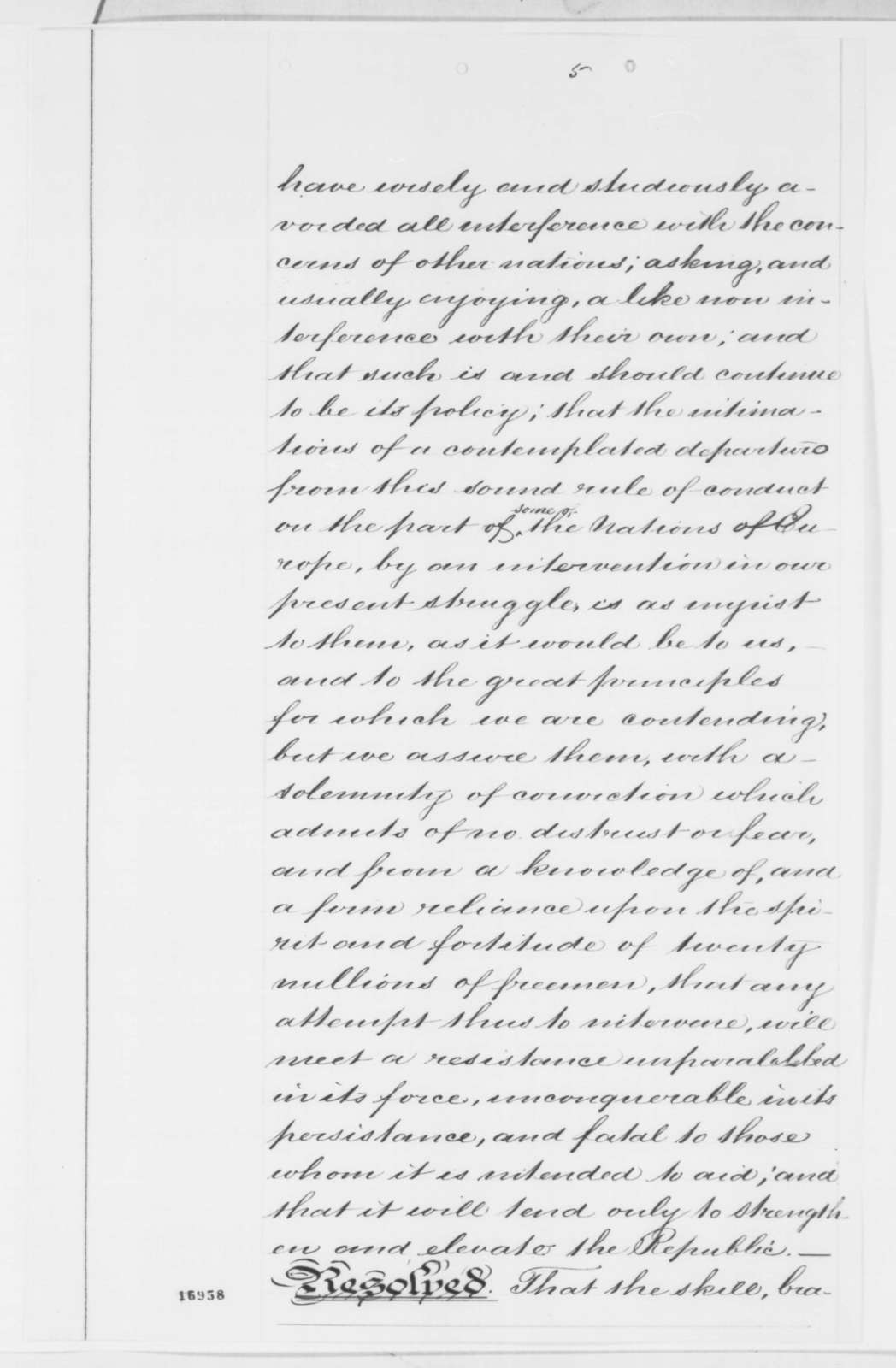 John A. Stevens Jr. to Abraham Lincoln, Thursday, July 10, 1862  (Sends proceedings and resolutions of a joint committee in New York City)