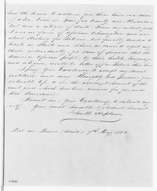 John B. Hepburn to Abraham Lincoln, Wednesday, May 07, 1862  (Emancipation)