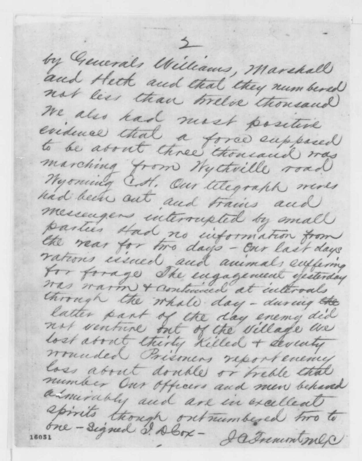 John C. Fremont to Edwin M. Stanton, Monday, May 19, 1862  (Telegram regarding military affairs)
