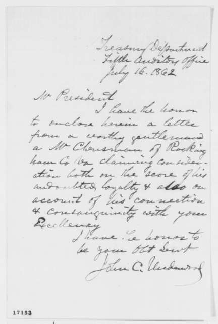 John C. Underwood to Abraham Lincoln, Wednesday, July 16, 1862  (Cover letter)