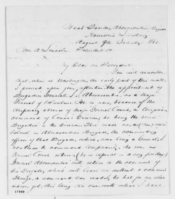 John Cochrane to Abraham Lincoln, Saturday, August 09, 1862  (Recommends army promotions)