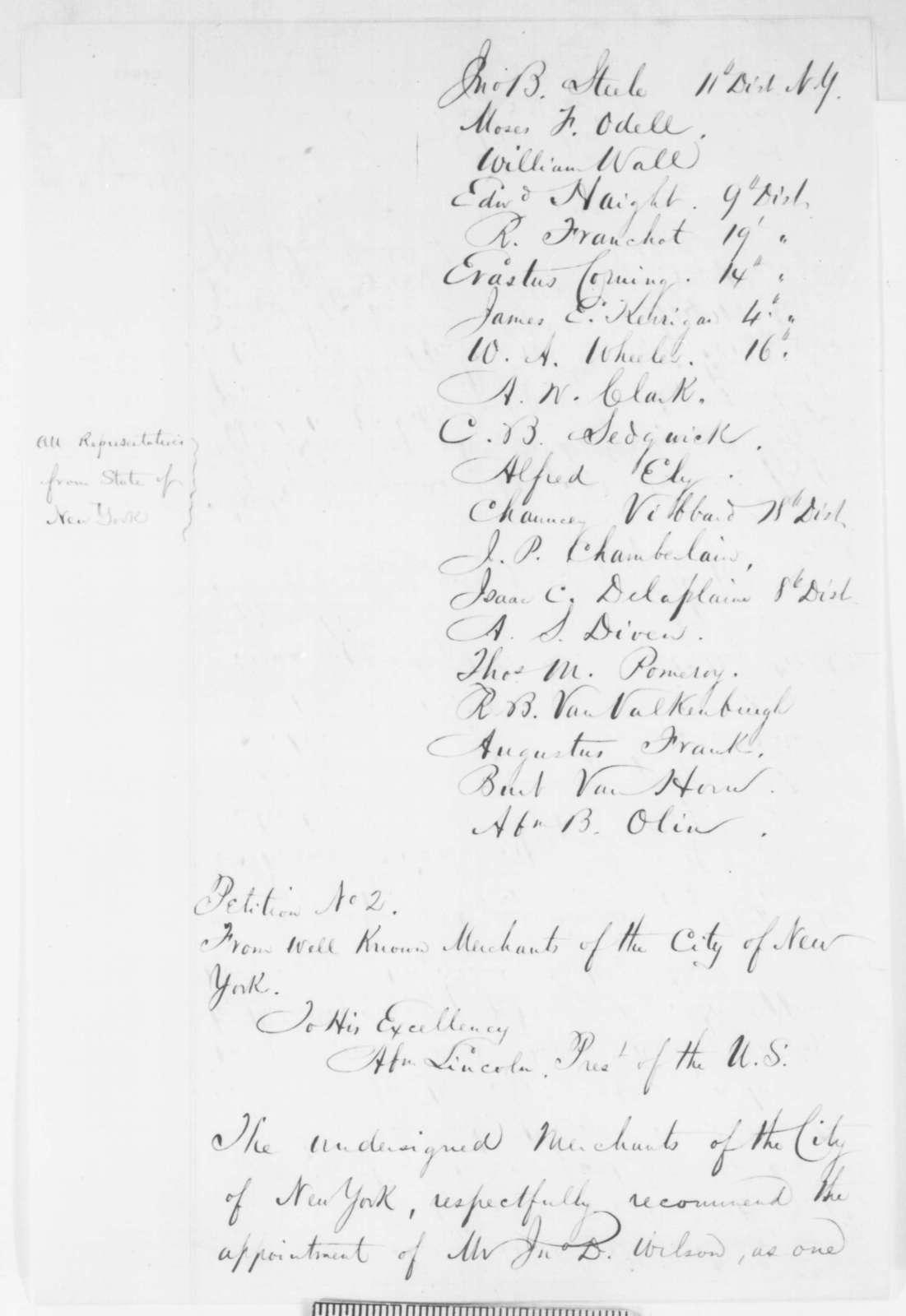 John D. Wilson to Salmon P. Chase, Wednesday, June 25, 1862  (Seeks office)