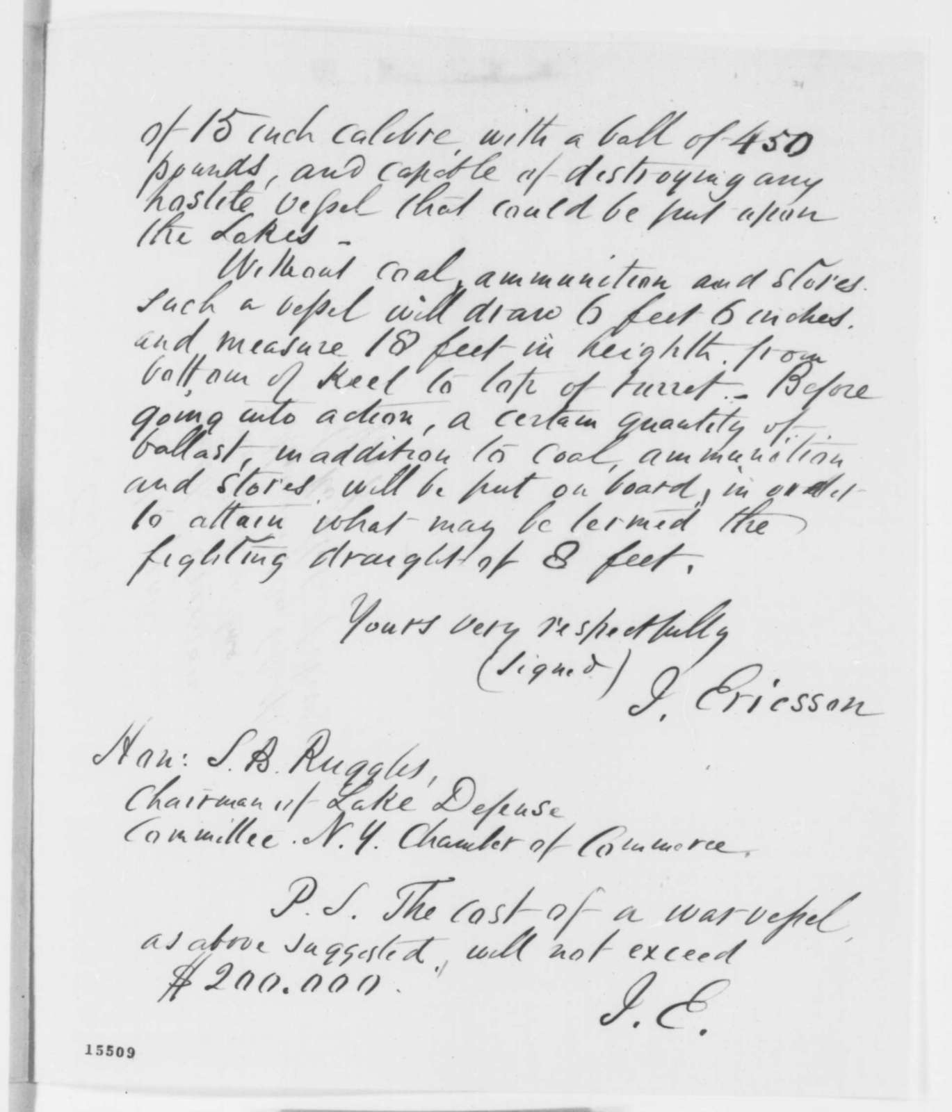 John Ericsson to S. B. Ruggles, Monday, April 14, 1862  (Ironclad vessel)