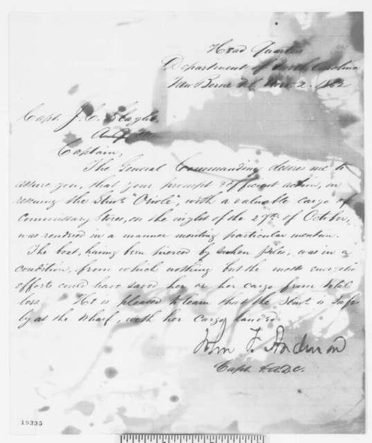 John F. Anderson to James C. Slaght, Sunday, November 02, 1862  (Commendation)