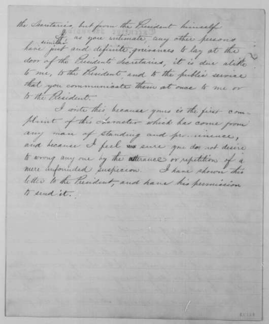 John G. Nicolay to David Davis, Sunday, January 05, 1862  (Reply to accusation)