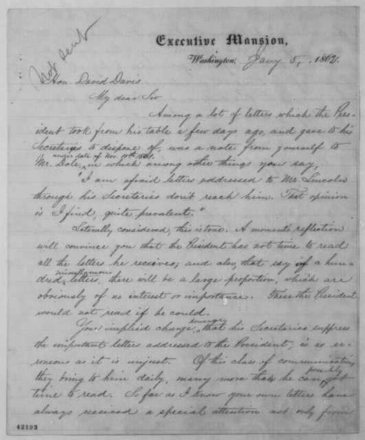 John G. Nicolay to David Davis, Sunday, January 05, 1862  (Reply to accusation)