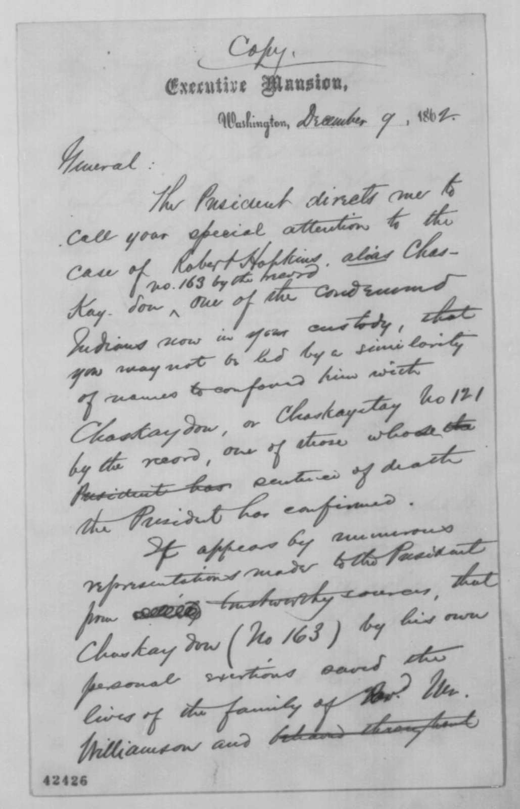 John G. Nicolay to Henry H. Sibley, Tuesday, December 09, 1862  (Case of Robert Hopkins)