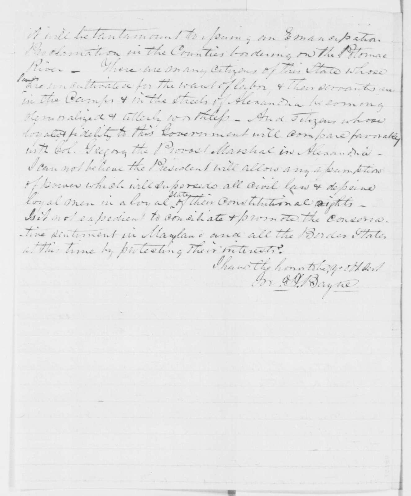 John H. Bayne to Abraham Lincoln, Thursday, July 03, 1862  (Return of fugitive slaves)
