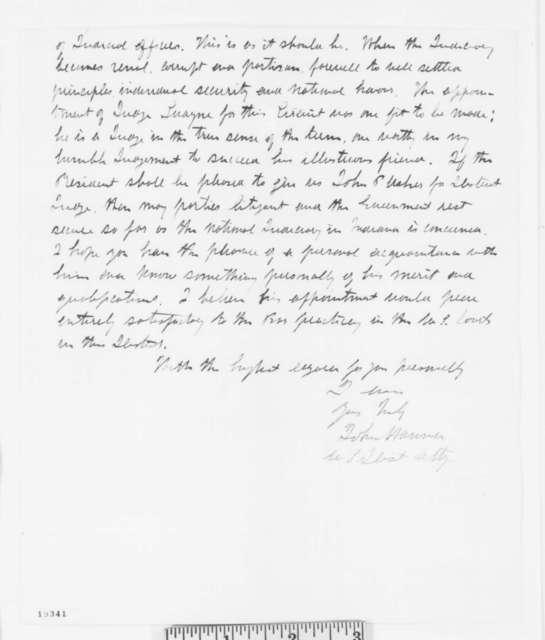 John Hanna to Edward Bates, Monday, November 03, 1862  (Recommendation)