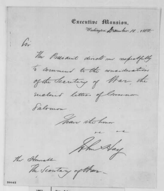John Hay to Edwin M. Stanton, Wednesday, December 10, 1862  (Cover letter; endorsed by Joseph Holt, Dec. 16, 1862)