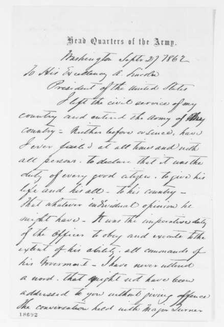 John J. Key to Abraham Lincoln, Saturday, September 27, 1862  (Dismissal from service)