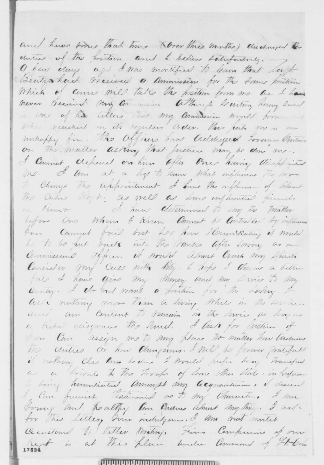 John L. Roper to Abraham Lincoln, Friday, August 08, 1862  (Seeks promotion in army)