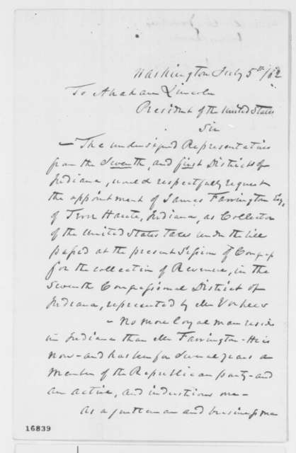 John Law and Daniel W. Voorhees to Abraham Lincoln, Saturday, July 05, 1862  (Recommendation)