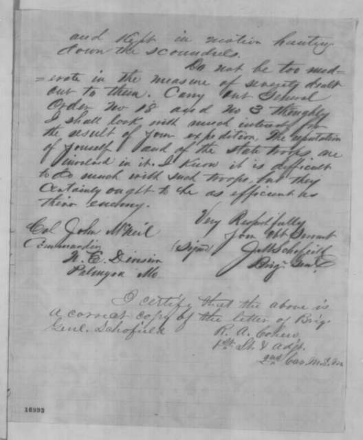 John M. Schofield to John McNeil, Friday, July 11, 1862  (Military affairs)