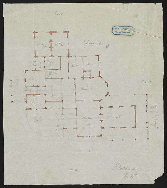 [John N. A. Griswold house (now Newport Art Museum), Newport, Rhode Island. First floor plan. Sketch] / R. M. Hunt, Archt.