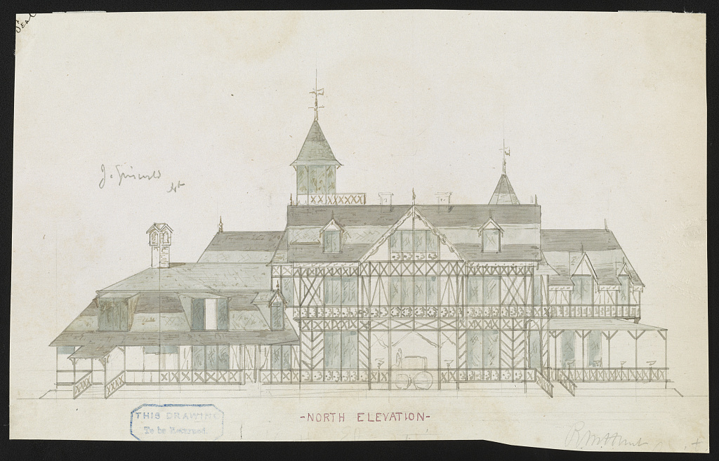 [John N. A. Griswold house (now Newport Art Museum), Newport, Rhode Island. North elevation. Rendering] / R. M. Hunt, Archt.