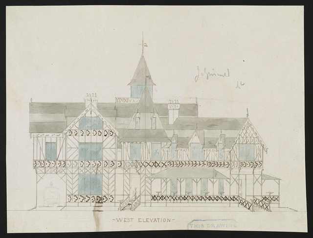 [John N. A. Griswold house (now Newport Art Museum), Newport, Rhode Island. West elevation. Rendering]